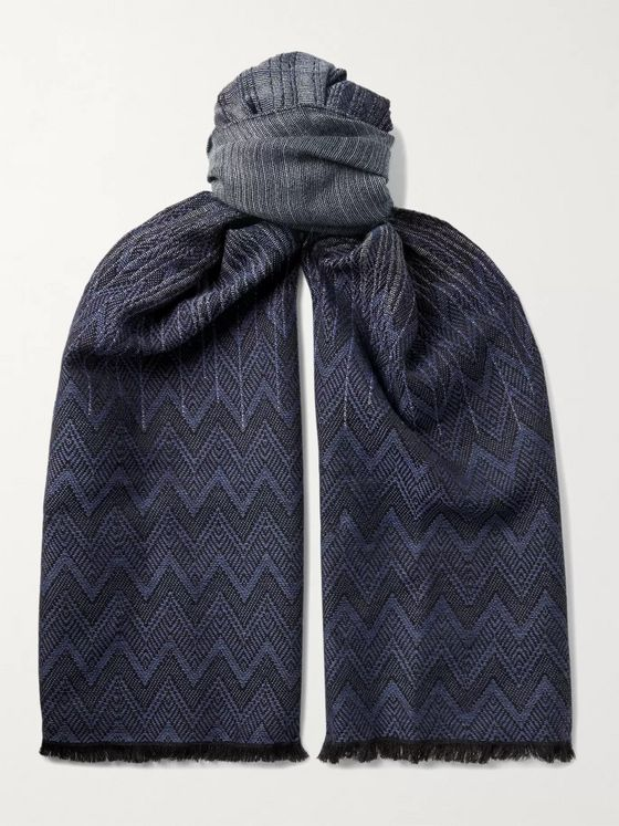 Missoni Fringed Crochet-Knit Wool Scarf