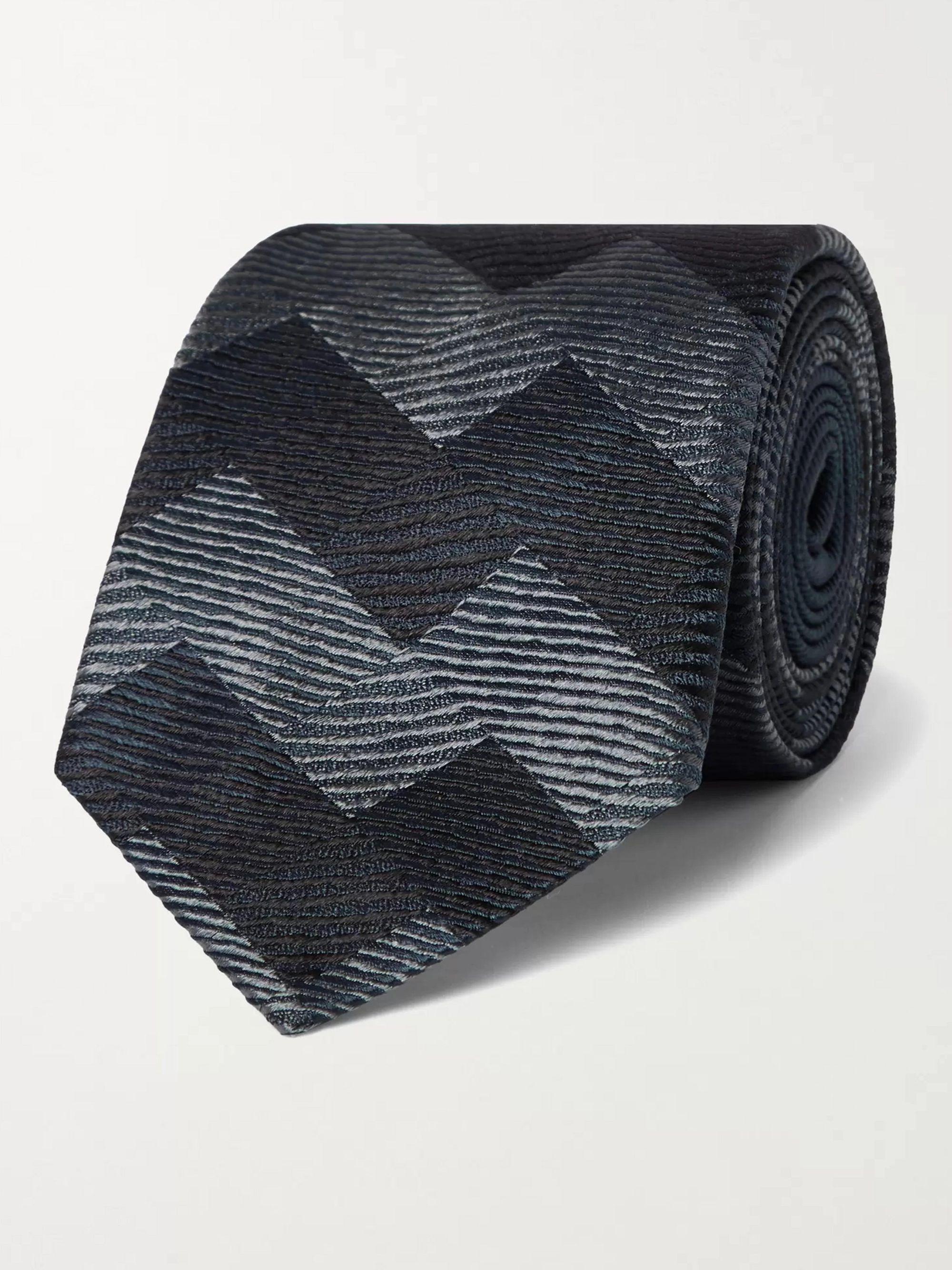 미쏘니 Missoni 7cm Silk-Jacquard Tie,Gray