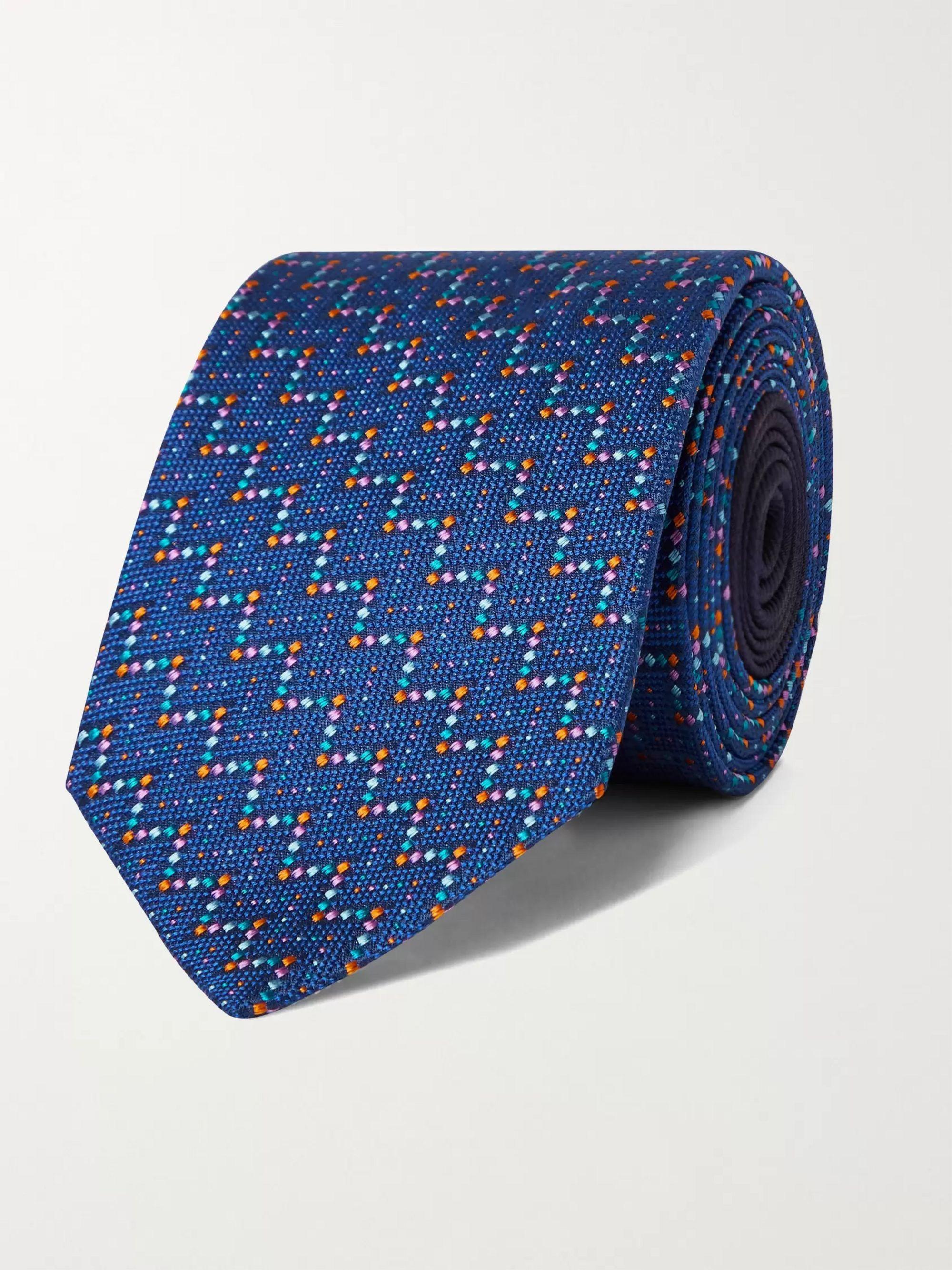 미쏘니 Missoni 7cm Silk-Jacquard Tie,Navy