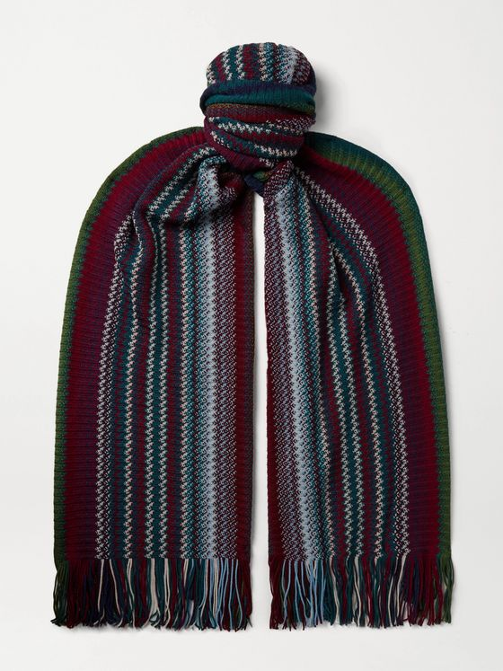 Missoni Fringed Crochet-Knit Wool-Blend Scarf