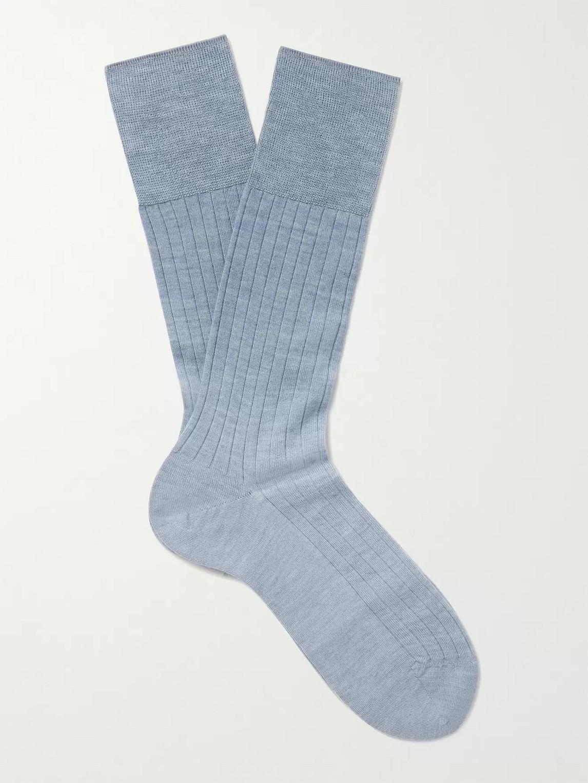 Falke Ribbed Cashmere-blend Socks In Blue