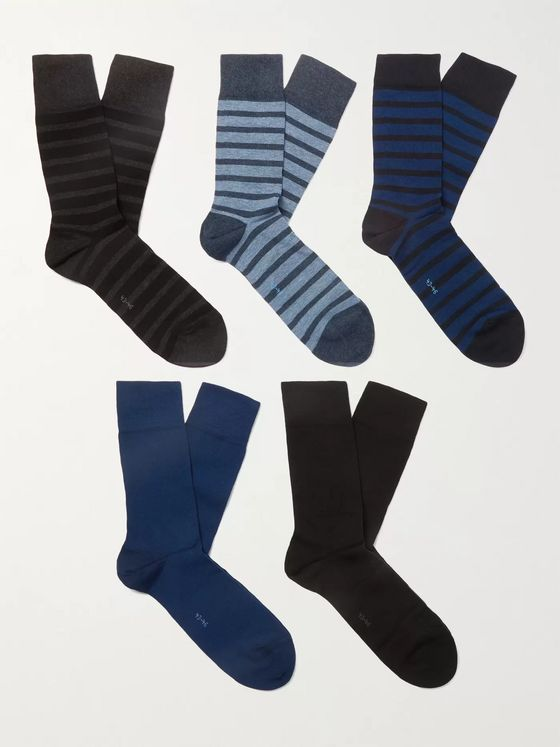 FALKE Happy Five-Pack Striped Cotton-Blend Socks