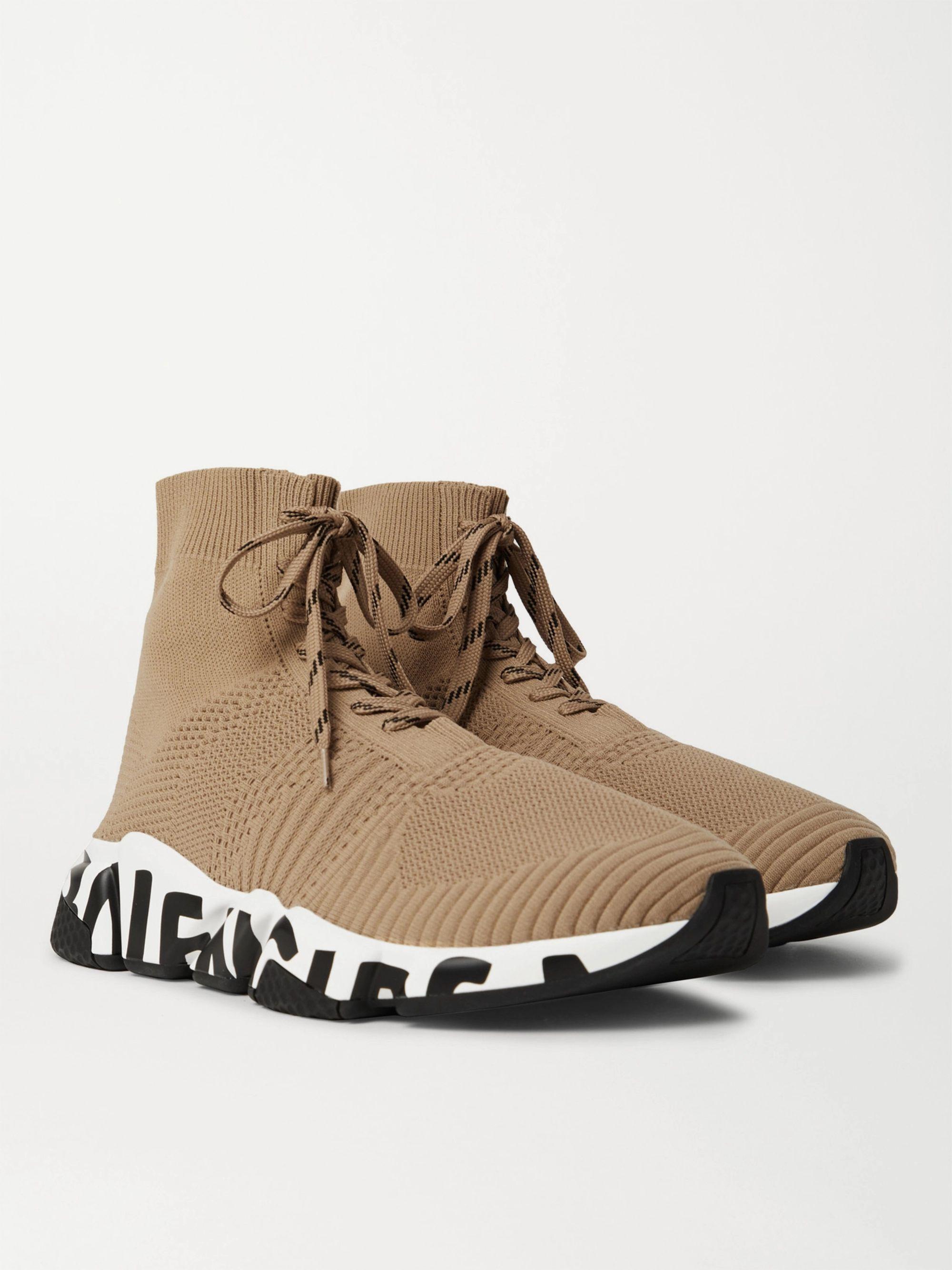 발렌시아가 스피드러너2 레이스업 남성용 - 베이지 Balenciaga Speed Sock Logo-Print Stretch-Knit Sneakers,Beige