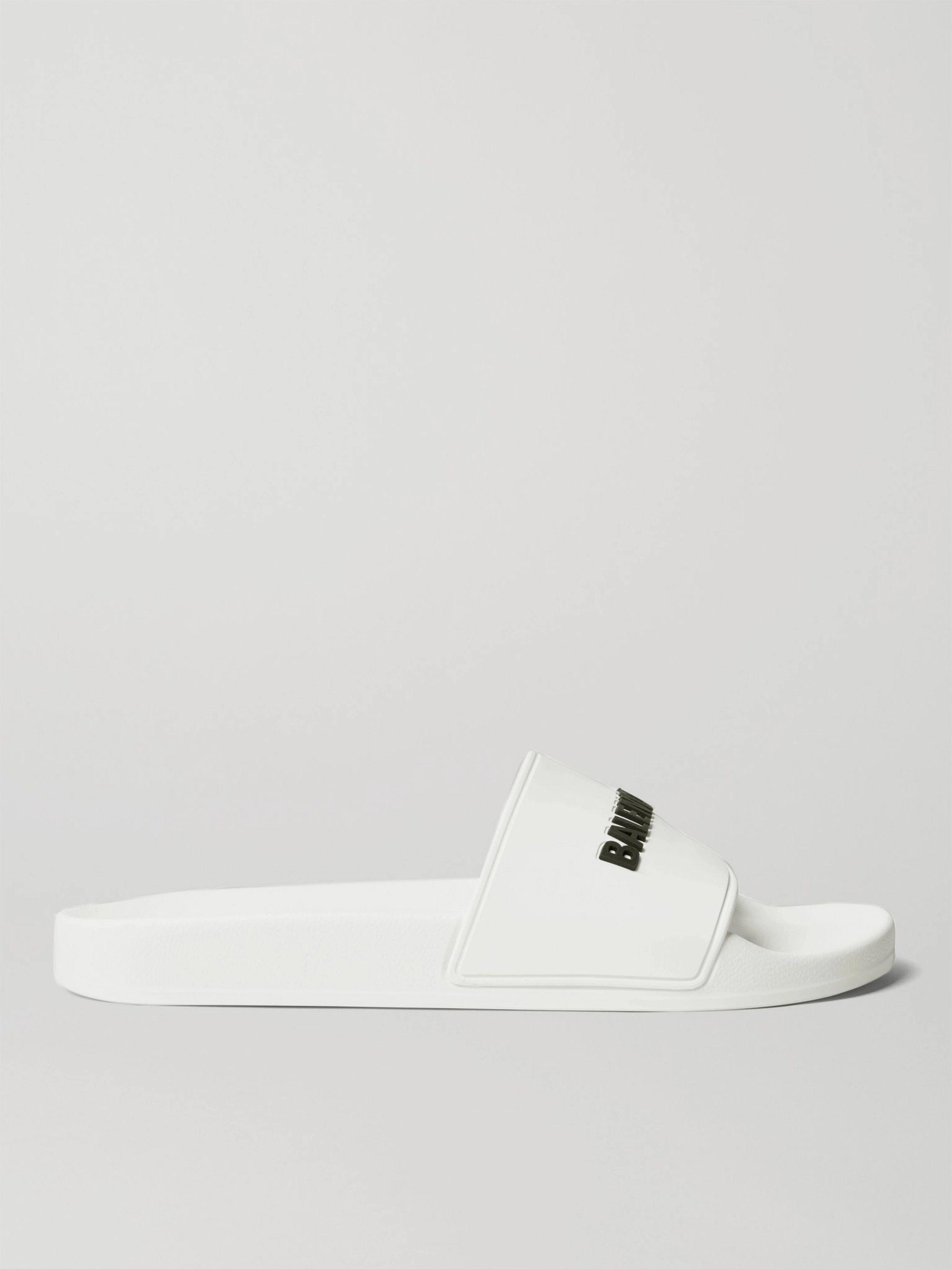 발렌시아가 Balenciaga Logo-Detailed Rubber Slides,White