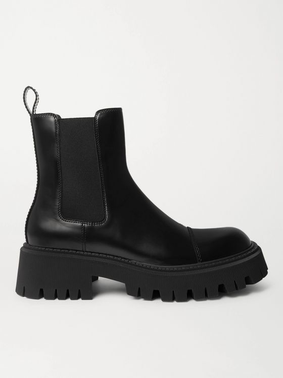 BALENCIAGA Tractor Logo-Debossed Leather Chelsea Boots