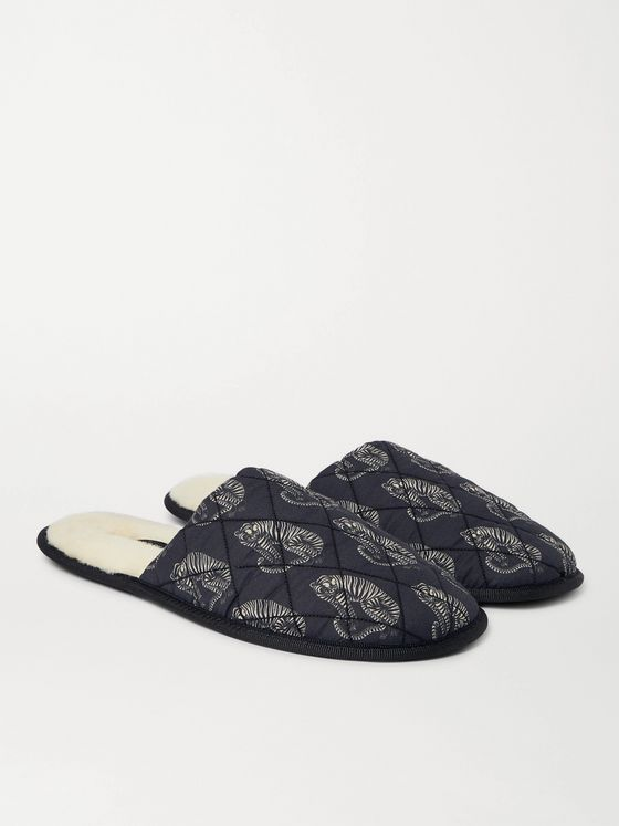 DESMOND & DEMPSEY Printed Quilted Cotton Slippers