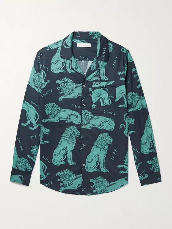 DESMOND & DEMPSEY Circe Camp-Collar Piped Printed Cotton Pyjama Shirt