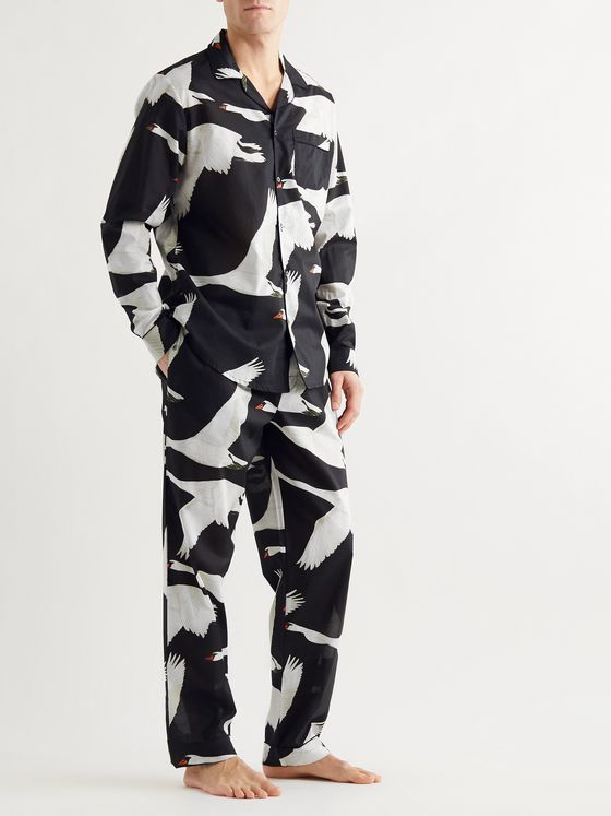 DESMOND & DEMPSEY Leda Printed Cotton Pyjama Trousers