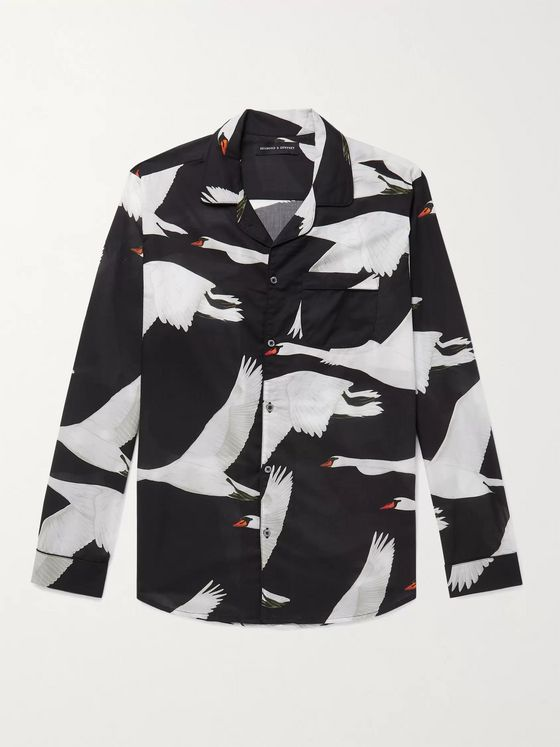 DESMOND & DEMPSEY Leda Camp-Collar Piped Printed Cotton Pyjama Shirt