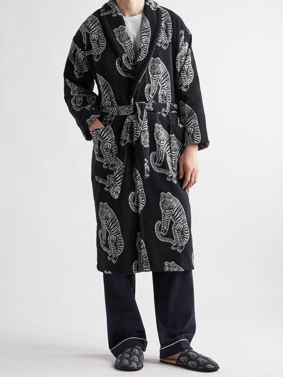 DESMOND & DEMPSEY Belted Printed Cotton-Terry Robe
