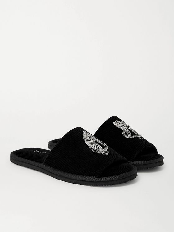 DESMOND & DEMPSEY Embroidered Corduroy Slippers