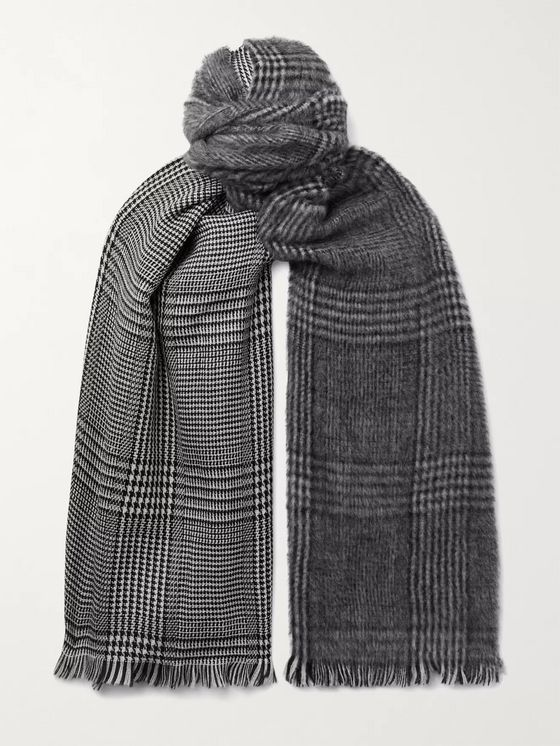 Altea Fringed Prince of Wales Checked Wool Scarf