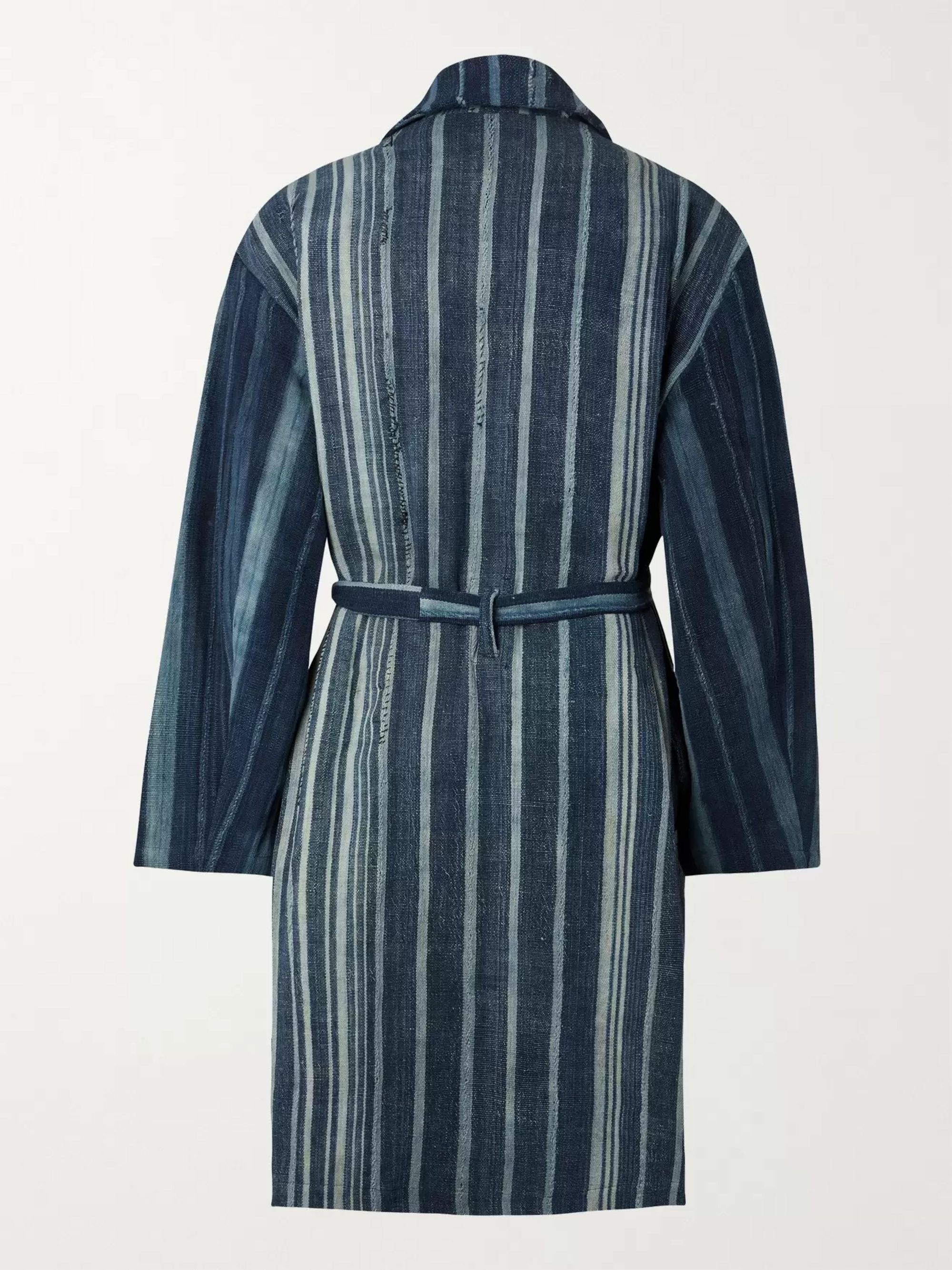 MONITALY Belted Striped Cotton Coat