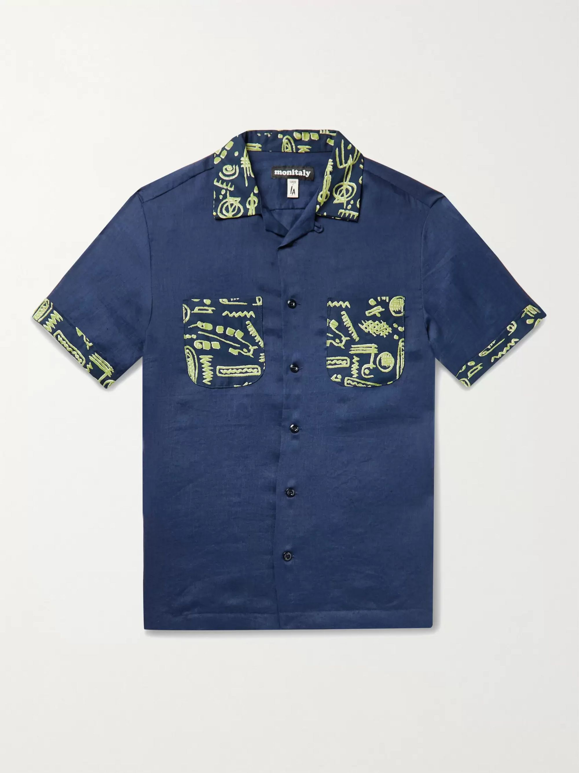 MONITALY Vacation Camp-Collar Printed Linen Shirt