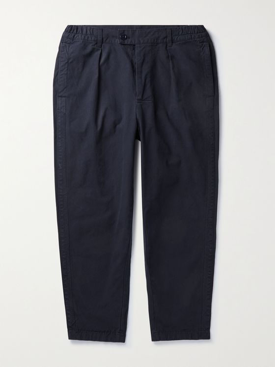 BARBOUR WHITE LABEL Marshall Tapered Pleated Cotton Trousers