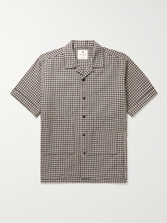 Snow Peak Panama Camp-Collar Gingham Cotton and Linen-Blend Shirt