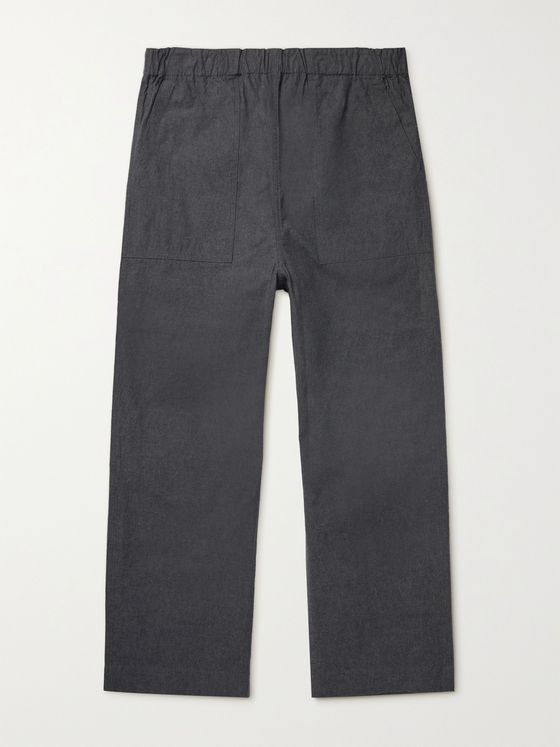 Snow Peak Bafu Cropped Crinkled-Cotton Trousers