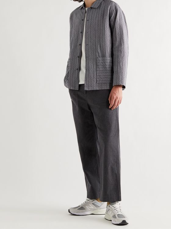Snow Peak Striped Linen and Cotton-Blend Dobby Jacket