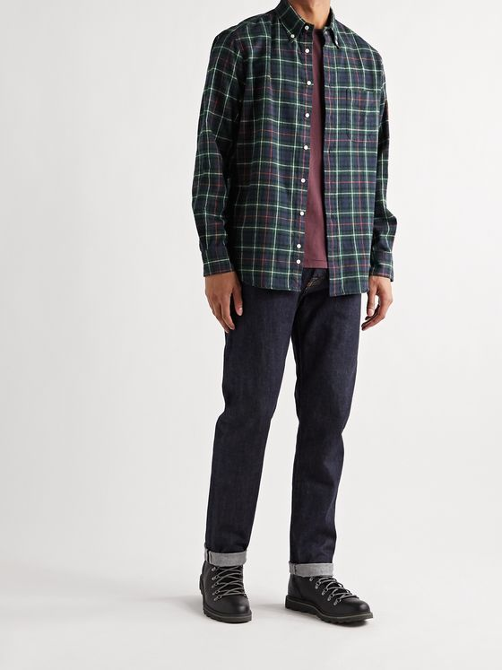 GITMAN VINTAGE Slim-Fit Button-Down Collar Checked Cotton-Flannel Shirt