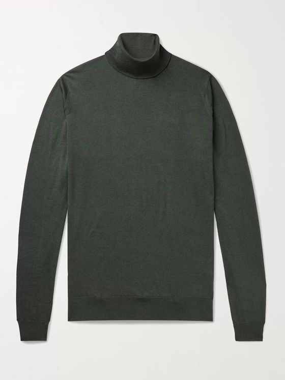 John Smedley Cherwell Wool and Cotton-Blend Rollneck Sweater