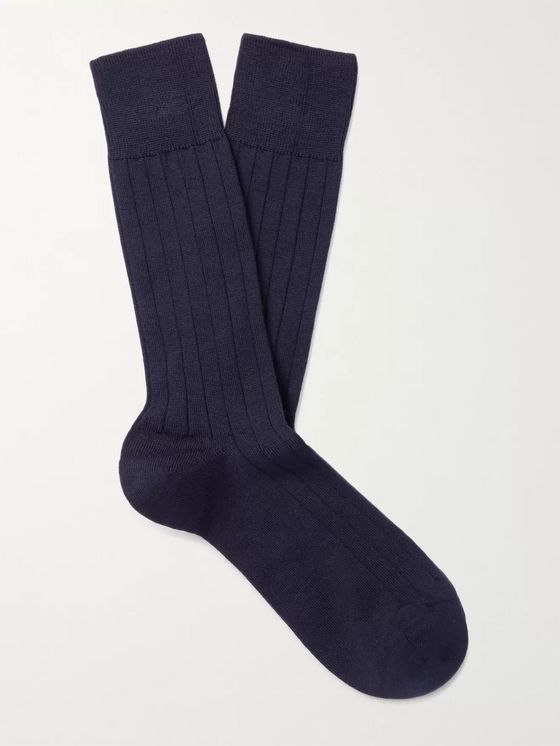 John Smedley Omega Ribbed Cotton-Blend Socks