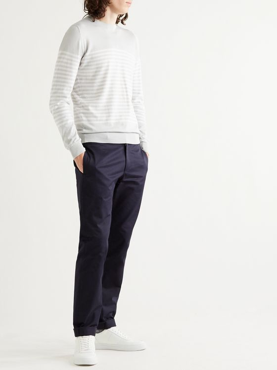 John Smedley Striped Sea Island Cotton Sweater