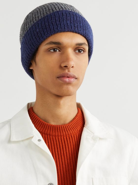 The Workers Club Contrast-Detailed Merino Wool Beanie