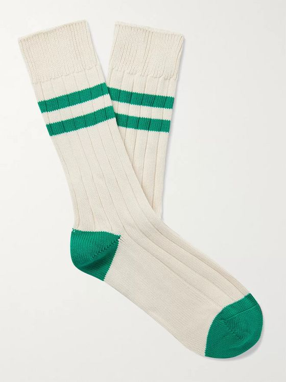 The Workers Club Varsity Striped Combed Cotton-Blend Socks