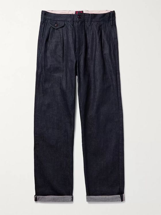 The Workers Club Pleated Selvedge Denim Jeans