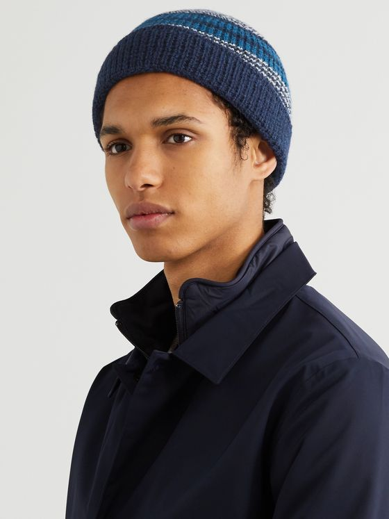 The Workers Club Striped Wool Beanie