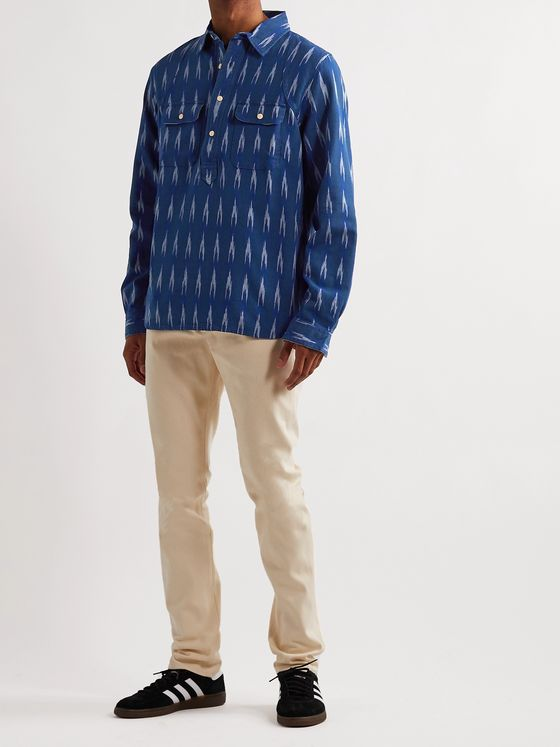The Workers Club Printed Cotton Half-Placket Shirt