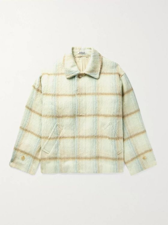 AURALEE Checked Brushed Wool and Alpaca-Blend Jacket