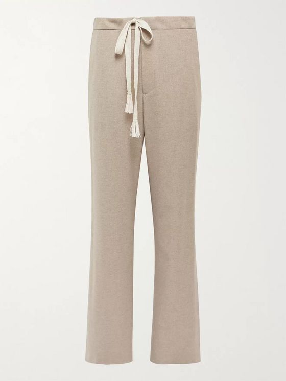 Auralee Mélange Wool-Flannel Drawstring Suit Trousers