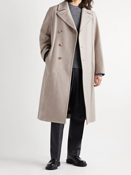 AURALEE Belted Double-Breasted Mélange Wool Coat