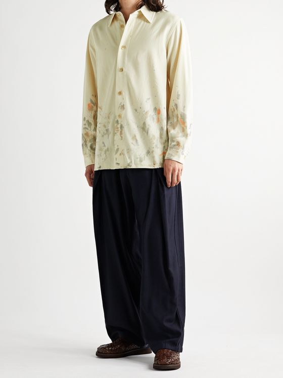 Auralee Paint-Splattered Wool-Gabardine Shirt