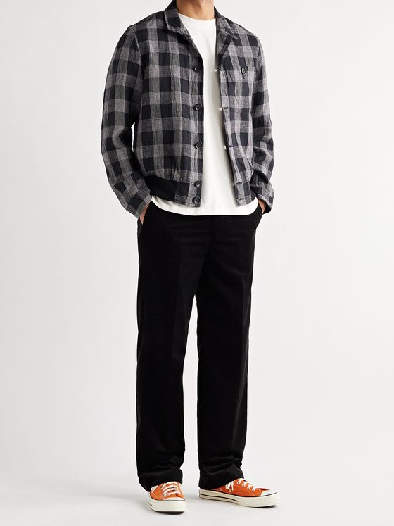 OLIVER SPENCER Ryde Checked Linen Bomber Jacket
