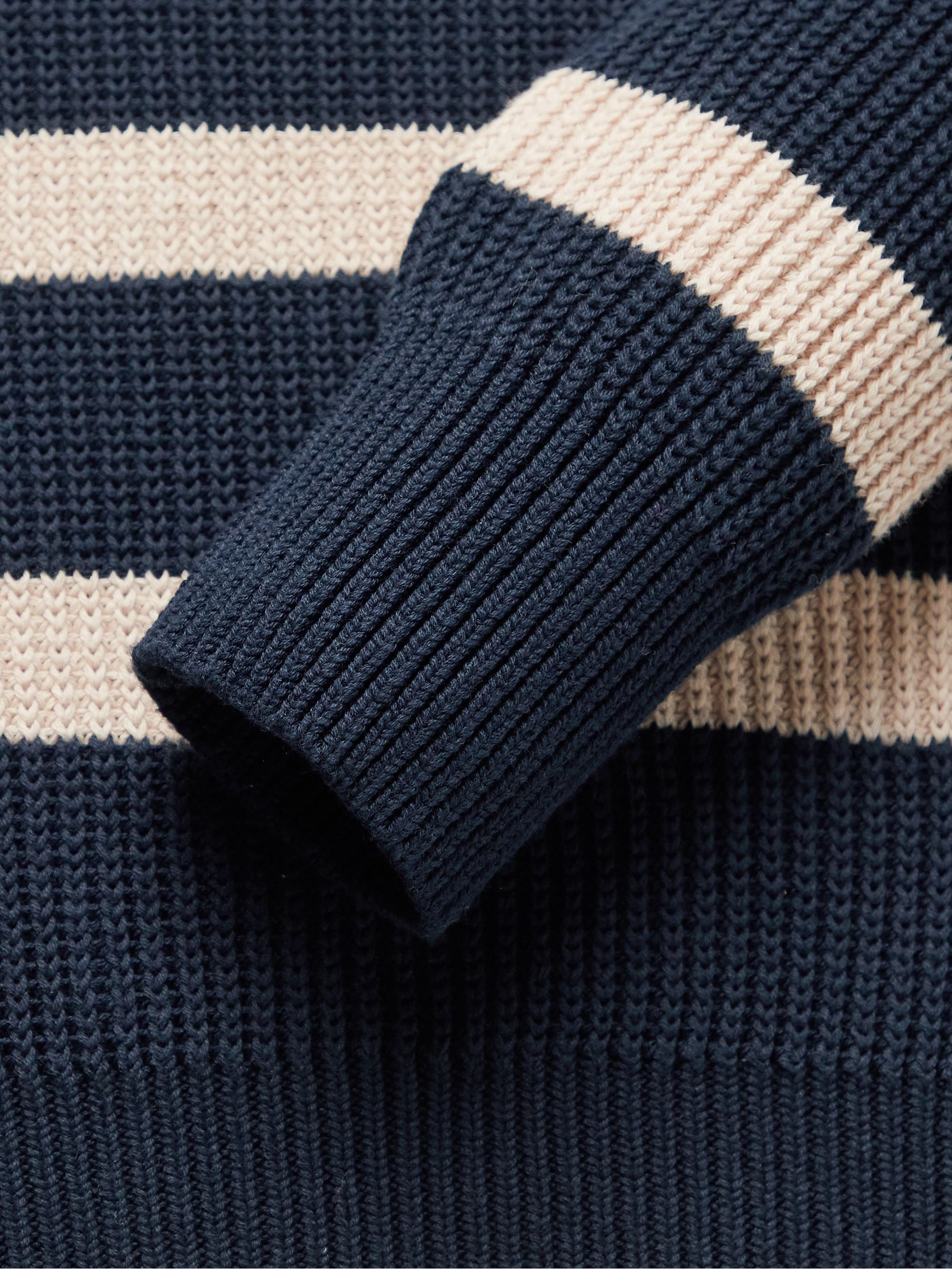 OLIVER SPENCER Blenheim Striped Ribbed Organic Cotton Sweater