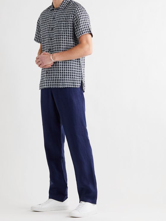 OLIVER SPENCER Checked Linen Shirt