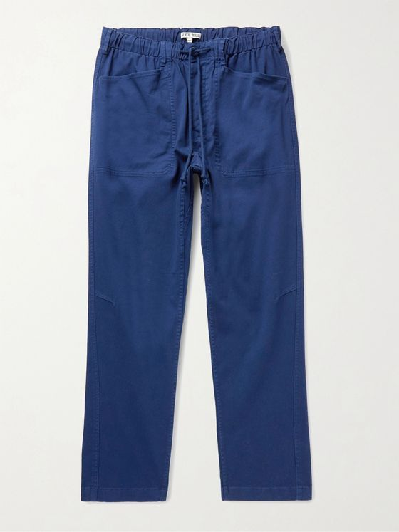 ALEX MILL Cotton-Blend Twill Drawstring Trousers