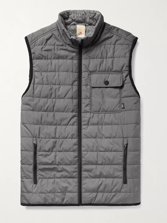 FAHERTY Atmosphere Slim-Fit Reversible Quilted Padded Shell and Mélange Jersey Gilet