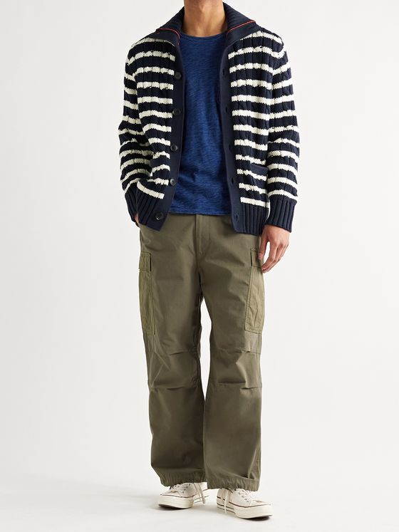ALEX MILL Striped Cable-Knit Cotton Cardigan