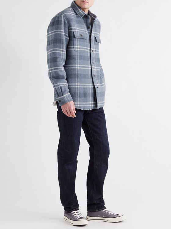FAHERTY Faux Shearling-Lined Checked Cotton and Wool-Blend Overshirt