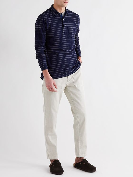 Faherty Garment-Washed Striped Slub Cotton Polo shirt