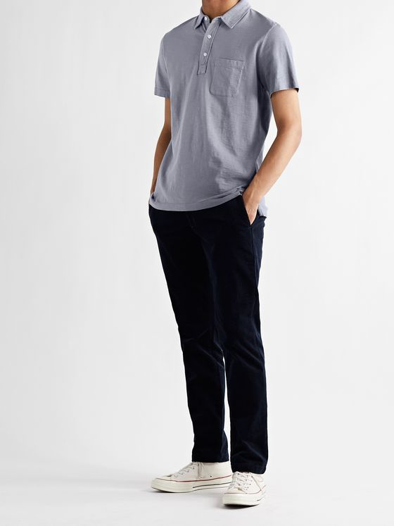 FAHERTY Garment-Dyed Slub Cotton Polo Shirt