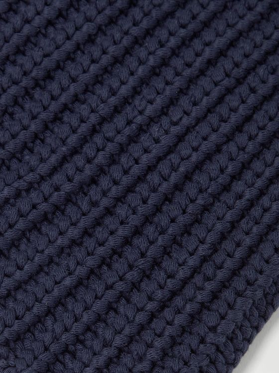 ALEX MILL Garment-Dyed Ribbed Cotton Beanie