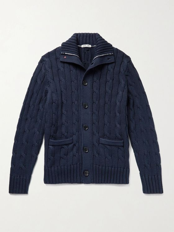 ALEX MILL Cable-Knit Cotton Cardigan