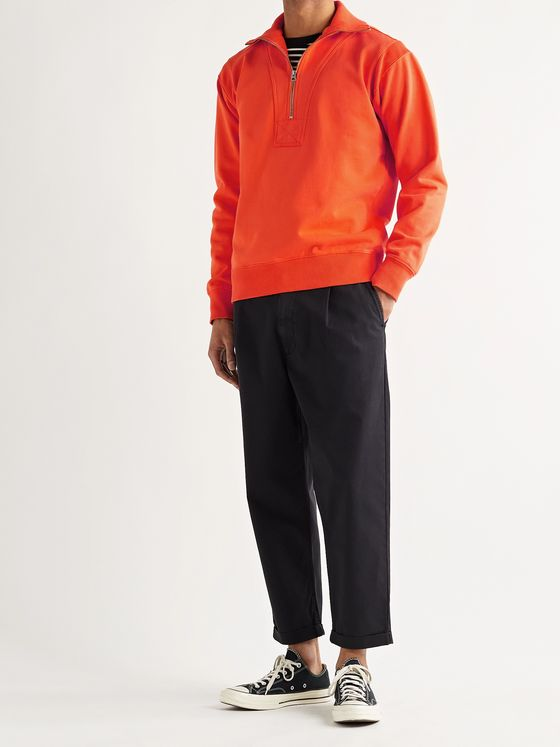 ALEX MILL Half-Zip Fleece-Back Cotton-Jersey Sweatshirt