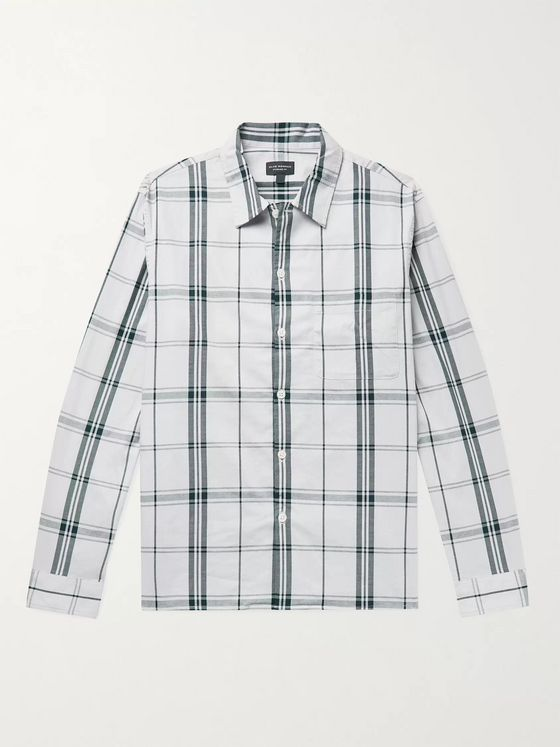 CLUB MONACO Checked Cotton Oxford Shirt
