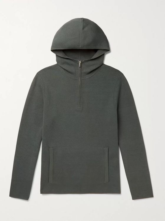 CLUB MONACO Cotton-Blend Half-Zip Hoodie