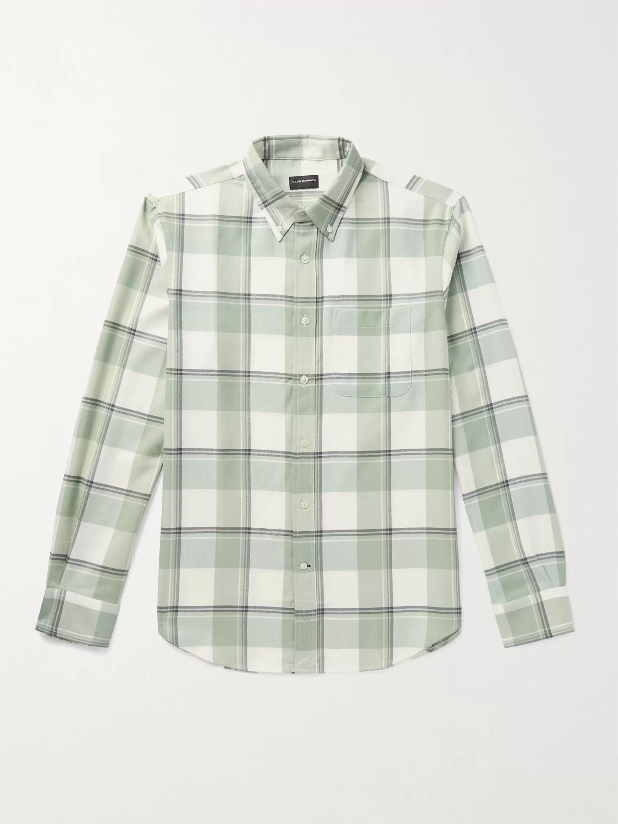 CLUB MONACO Button-Down Collar Checked Twill Shirt